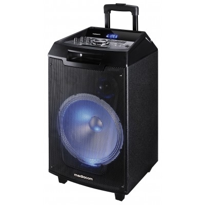 Cassa Karaoke Bluetooth Portatile MusicBox Mediacom 120W con Trolley  Wireless Bluetooth