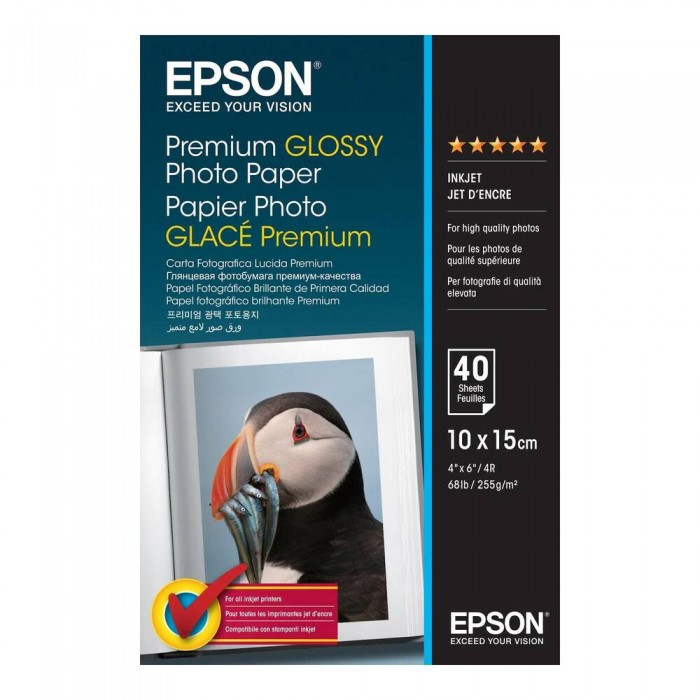 Carta fotografica Epson premium glossy lucida C13S042153 5 stelle 10X15 40 fogli