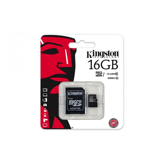 MicroSD Kingston 16GB  HC Class 10 con adattatore SD