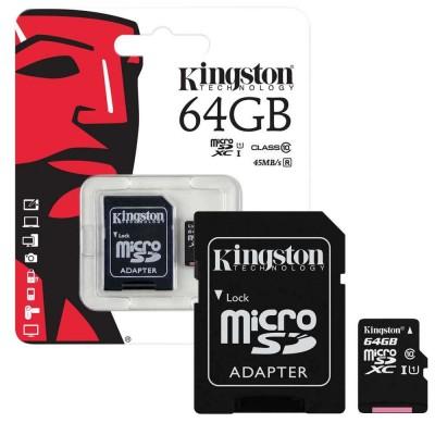 MicroSD Kingston 64GB  HC Class 10 con adattatore SD