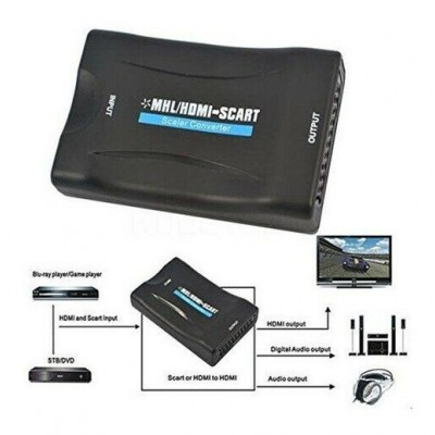 CONVERTITORE DA HDMI A SCART ADATTATORE VIDEO AUDIO STEREO TV 1080P FULL HD