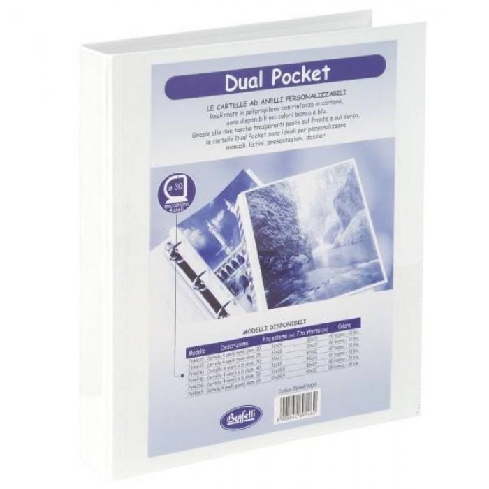 Cartella a 4 anelli Buffetti Dual Pocket personalizzabile diametro 30mm