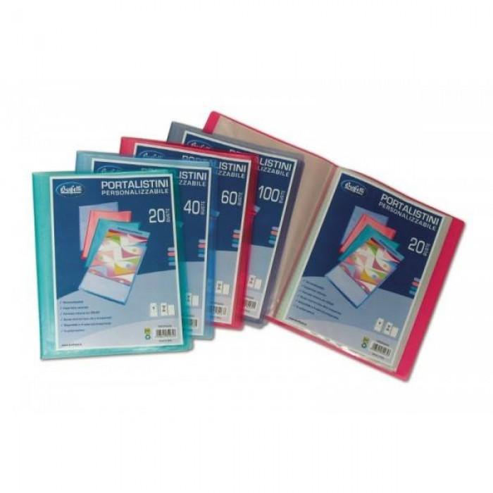 Portalistini personalizzabili colorati - polipropilene - 40 buste Buffetti