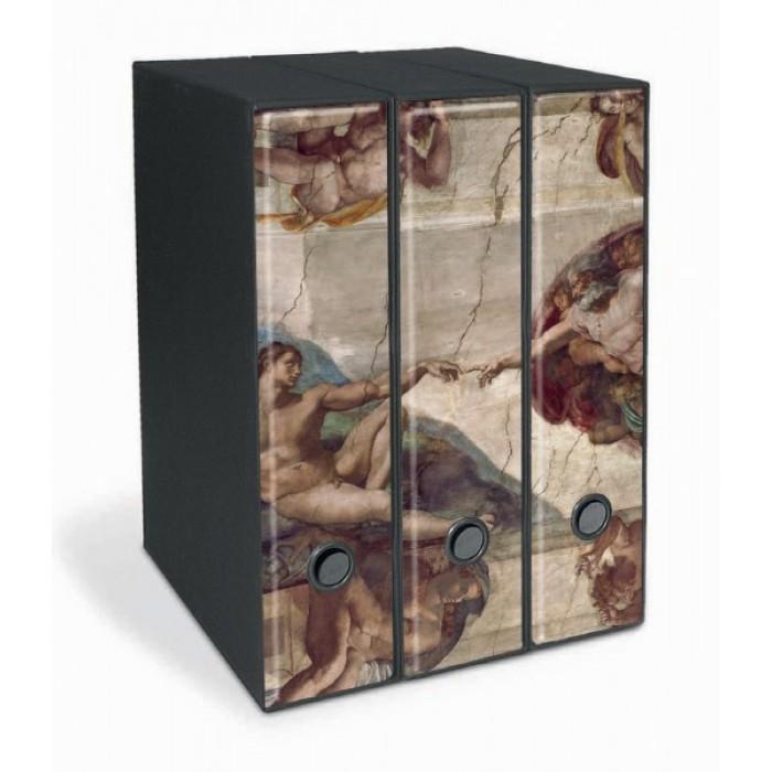 Set di tre registratori raccoglitori buffetti formato protocollo dorso 8 Michelangelo