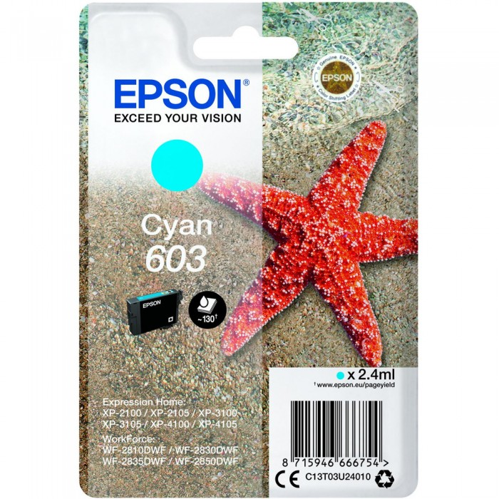 Cartuccia Inchiostro Originale Epson T03U24 603 ciano
