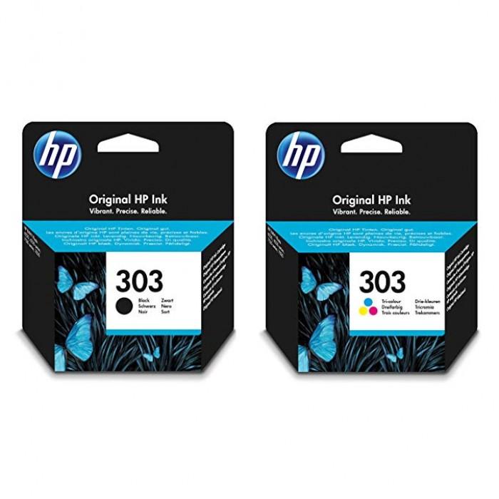 Kit 2 Cartucce di ricambio inchiostro originale HP 303 nero+colore