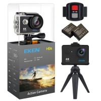 EKEN H9s 4K Action Camera Wifi Impermeabile Camera Sportiva con Video 4K 25 2.7K 30 1080p 60 720p 120fps 12MP Foto e 170 lenti grandangolari include 10 kit di montaggio Telecomando 2 Batterie Nero