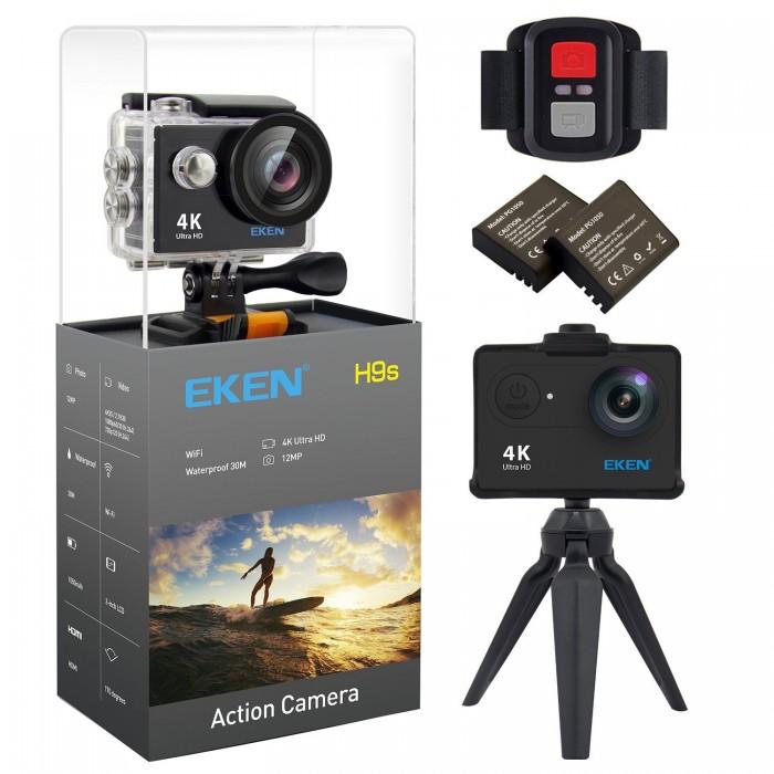 EKEN H9s 4K Action Camera Wifi Impermeabile Camera Sportiva con Video 4K 25 2.7K 30 1080p 60 720p 120fps 12MP Foto e 170 lenti grandangolari include 10 kit di montaggio Telecomando 2 Batterie Nero