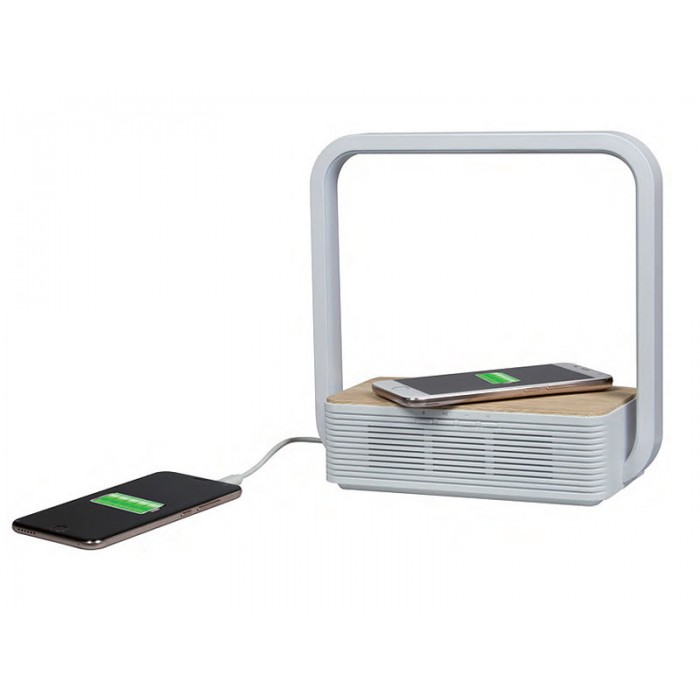 Lampada LED da tavolo con ricarica dispositivi USB e cassa bluetooth  incorporata