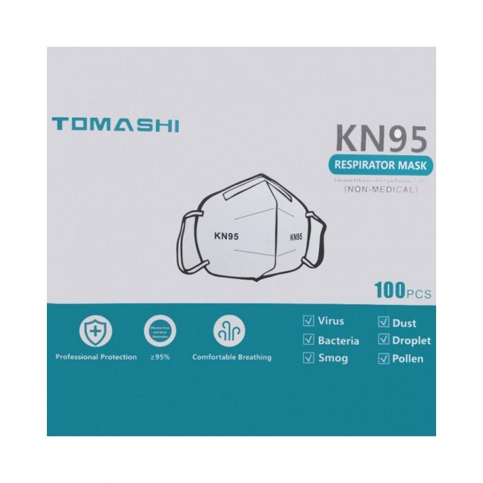 Confezione da 100 mascherine KN95 FFP2 tomashi con protezione 95% bianche