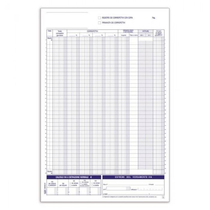 Registri corrispettivi - Primanota dettaglianti (Corrispettivi del mese) - Blocco - 12 fogli Buffetti