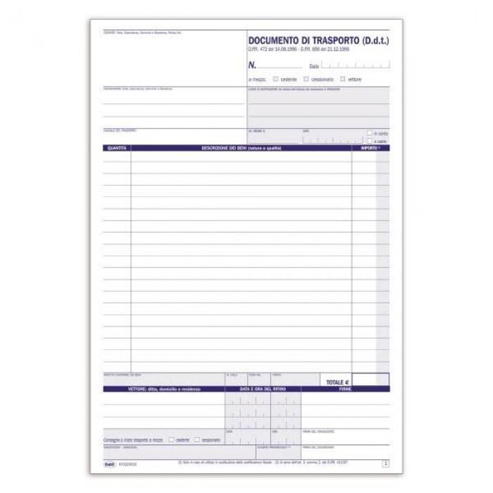Registro buffetti Documento di trasporto - Blocco - 33 fogli - 29,7x21,5 cm