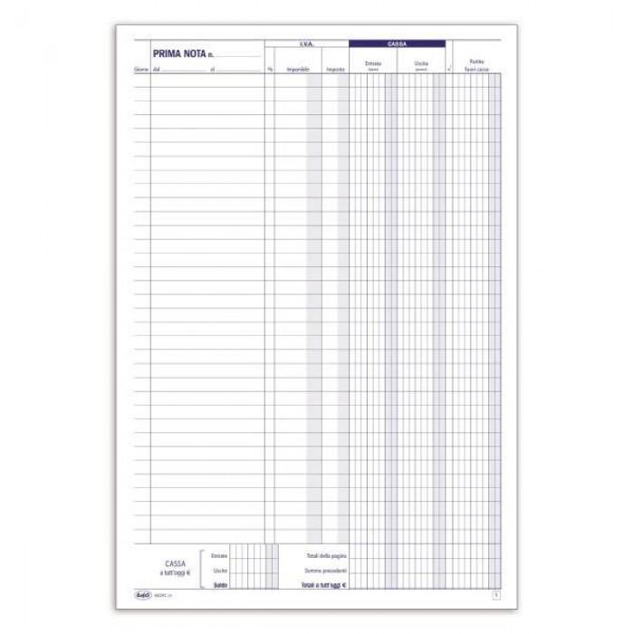 Registro Primanota cassa (entrate-uscite-partite fuori cassa) - Blocco - 50 fogli formato A4 Buffetti