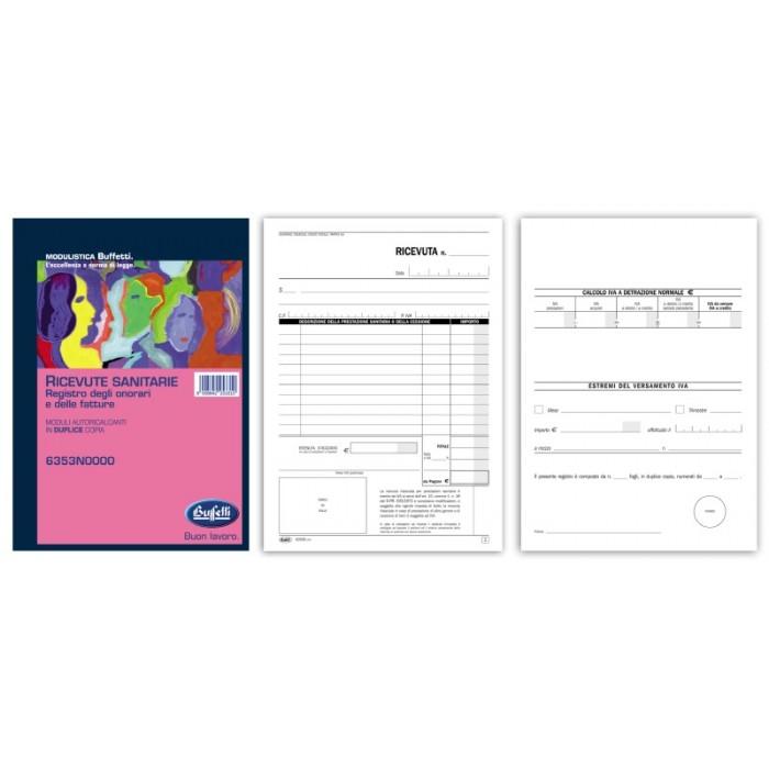 Registro Ricevute sanitarie - Ricevute sanitarie e Registro onorari e fatture (vidimabile) - Blocco - 50 fogli buffetti