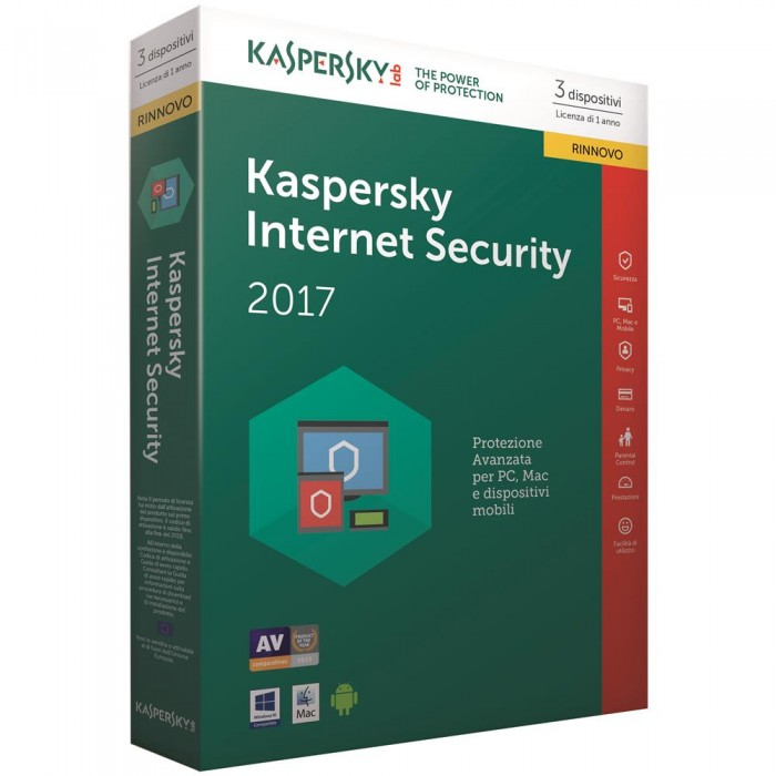 Kaspersky Internet Security 2018  3 dispositivi