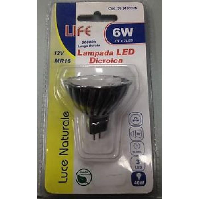 LAMPADA LED A RISPARMIO ENERGETICO LIFE!DICROICA LUCE NATURALE 6W PARI A 40W!12V