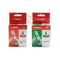 2 CARTUCCE ORIGINALI CANON BCI-6R ROSSA E BCI-6G GREEN PIXMA IP8500 I9950 I990