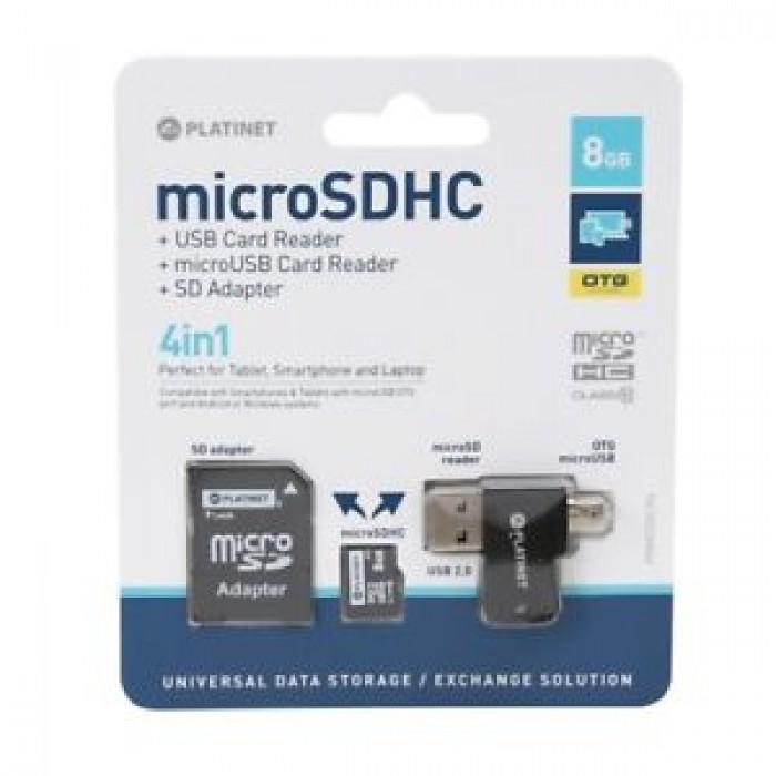 Memoria Micro SD 8Gb+lettore di schede USB card reader+OTG+adattatore SD 4in1