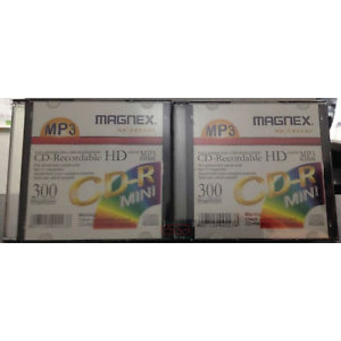 2 PEZZI DI MINI CD VERGINI RECORDABLE  CD-R HD MAGNEX XCHD35 DA 300MB 8CM