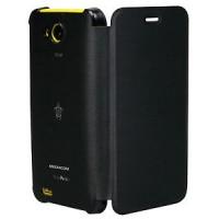COVER FLIP CASE MEDIACOM Phone Pad G400 G 400 Ecopelle Nera Custodia M-G400FC